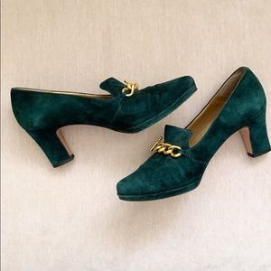 Bally Emerald Green Suede Chain Leather Heels 5